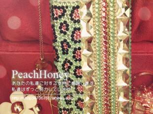new 枚红+绿色小花 Blingbling满钻竖条宝石iphone4/4S手机壳,数码周边,