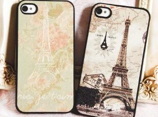 新款皮质小清新复古情侣巴黎铁塔iphone4 4S手机壳苹果保护套外壳,数码周边,