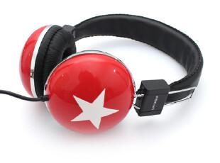 大星星耳机 韩式彩色手机耳机mp3耳机3.5mm全球时尚头戴式大耳机,数码周边,