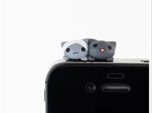 日本代购正品小猫咪双子猫黑白双猫耳机防尘塞超萌Iphone4s 5预订,数码周边,