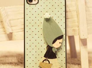 DIYiphone4/4s森林系女孩 绿色 独家新款 韩国小清新手机壳保护贴,数码周边,
