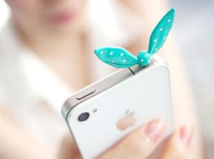 韩国货 甜美可爱果冻色兔耳朵 水玉点点蝴蝶结造型防尘塞 iphone4,数码周边,
