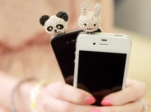 韩国iphone4 iphone4s 手机 耳机孔防尘塞 钻 苹果熊猫可爱手机链,数码周边,