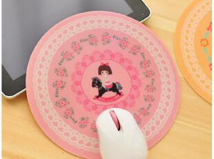 默默爱♥韩版 小清新 可爱甜美 创意圆形 PVC 蕾丝防滑鼠标垫,数码周边,