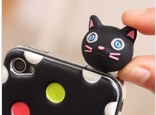 ipad2/3 iphone4立体动物头耳机防尘塞 韩版 硅胶动物手机防尘塞,数码周边,