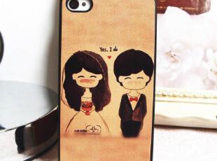 新款潮牌 皮感浮雕 甜蜜梦幻婚礼iphone4 4s手机壳苹果保护套外壳,数码周边,