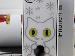 新款雪花小猫 iphone4手机壳 苹果4s手机壳 正品潮iphone4s手机壳,数码周边,