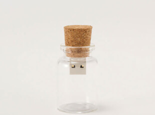 许愿瓶U盘 漂流瓶 个性可爱 玻璃瓶 创意U盘 8G 正品特价包邮,数码周边,