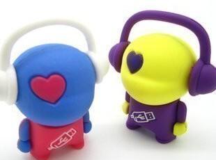 2G 特价 创意U盘 日韩流行 卡通音乐人 2G 礼品U盘 铁盒装,数码周边,