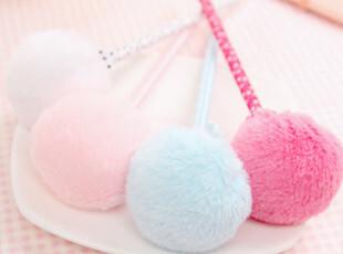 粉色粉丝 专业网货供应商 创意文具批发 可爱毛绒毛毛球圆珠笔,文具,