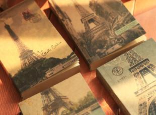 复古 巴黎铁塔控 空白牛皮纸内页 加厚H5 日记本记事本 笔记本子,文具,