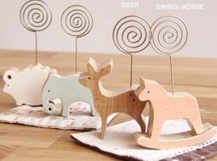 【满39包邮】韩国文具简约木质 桌面 照片夹子 名夹片 动物留言夹,文具,