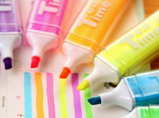 韩国文具 可爱创意糖果色 tea time 彩色 午茶时光 涂鸦笔 荧光笔,文具,