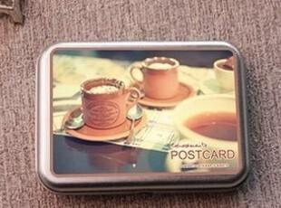 韩国文具 铁盒装精美名信片 半岛铁盒卡片 明信片——下午茶,文具,