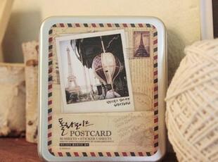 印象巴黎铁盒装小卡片迷你小贺卡送贴纸麻绳夹子创意明信片,文具,