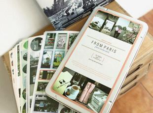 韩国文具 复古风照片贴纸 铁盒套环游世界之paris巴黎,文具,