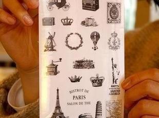 韩国文具 复古风情 透明日记装饰贴纸 Stamp sticker 6张入,文具,