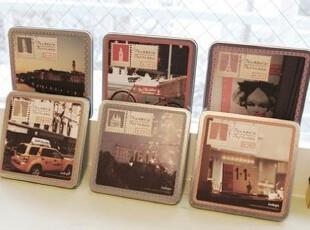 韩国文具  铁盒装宝丽来明信片 卡片 贺卡 东京15张套 6款式,文具,