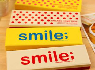 【满39包邮】韩国文具 简约 可爱笔盒 塑料 smile 铅笔盒文具盒,文具,