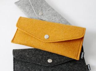 MUPU木朴 简约的羊毛毡银色按扣笔袋 四合扣眼镜袋,文具,