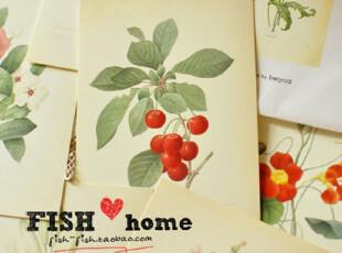 【50包邮】bentoy 手绘风格 复古 花朵明信片 套装 16枚入,文具,