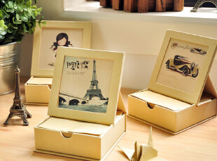 三年二班●韩国文具 创意便签盒+相框 复古风情牛皮纸手绘礼盒,文具,