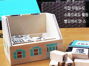 【39元包邮】韩版 超可爱房子印章 木屋印章 附带印泥木盒 套装,文具,