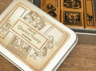韩国文具 爱丽丝和桃乐丝 DIY 木质 复古铁盒印章 8款100g,文具,