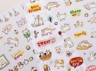 韩国进口SSBA 可爱猫咪日记本装饰贴纸组(6张入),文具,