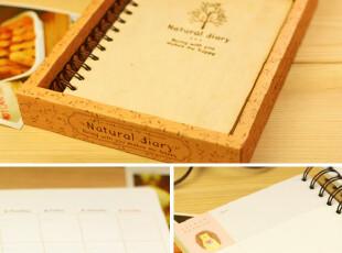 日韩国文具 笔记本 简洁 记事本 日程日记本 超厚创意 木质 本子,文具,
