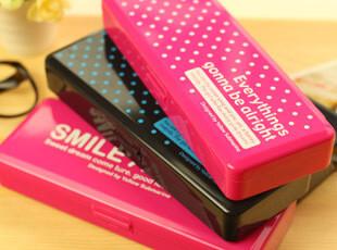 【满39包邮】韩国文具 简约 笔盒 笔袋 塑料加厚双层文具盒,文具,