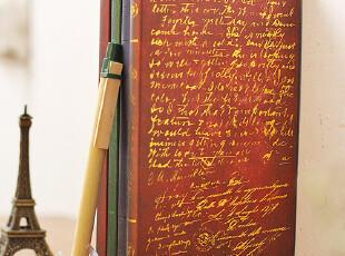 zaa杂啊 追忆珍藏-复古欧式烫金硬皮笔记本 日记本子 长款48k特,文具,