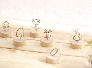 zakka杂货 出口日本原单名片夹 木质铁线便签夹 留言夹 便条夹,文具,