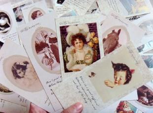 韩国文具 韩国进口欧美复古经典照片卡片套装  欧美复古风格书签,文具,
