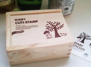 zaa杂啊 可爱创意韩国大树和女孩子 木盒+DIY印章+贴纸 15枚,文具,