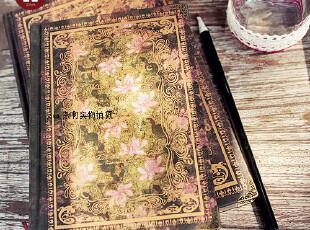 zaa杂啊 高档欧洲神秘复古精装花边烫金日记本子 金属包角笔记本,文具,