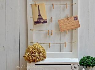 Bao ZAKKA 旧木 水洗白 带盒 展示 麻绳夹子 壁挂 照片夹 留言板,文具,