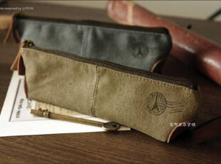 Bao's zakka 真皮帆布 长形笔袋 2色可选,文具,