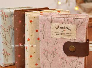 zaa杂啊 flowers随遇碎花麻布面笔记本子 随身日记纯色牛皮纸内页,文具,