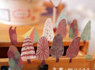 zaa杂啊 挪威森林 可爱小树 森林系日记本装饰贴纸韩国文具 4张入,文具,