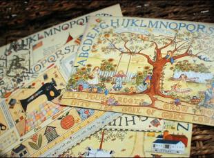 日韩文具afternoon garden明信片 复古温暖手绘风格童话世界6枚,文具,