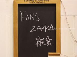 Fan's zakka杂货 原木旧木制丝印挂式黑板(附板擦),文具,
