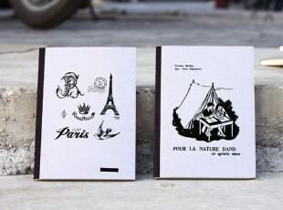 BAO ZAKKA 复古插图 环保灰板笔记本--铁塔,玫瑰,海滩,露营,文具,