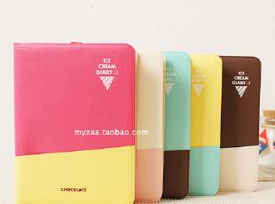 zaa杂啊 糖果色cream系列皮质笔记本 韩国记事本子 附可爱书签,文具,