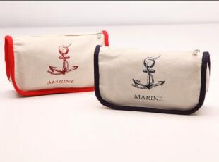 藤也家日式素白简洁MUJI海锚化妆袋笔盒 可折叠文艺风古旧布收纳,文具,