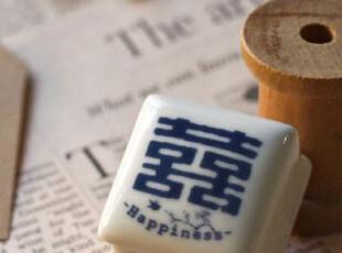 创意礼品 复古陶瓷印章 双喜 图章 信戳 邮戳 印泥 木马蕾丝套娃,文具,