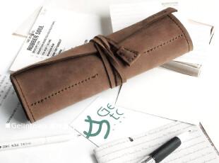笔袋笔帘 复古棕色 真皮 文具包袋笔套 100%纯牛皮 手工 经典款,文具,