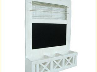 水洗白 3收纳格 木质 黑板 铁网 壁挂留言架,文具,