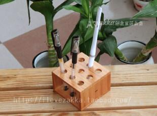 原木桌面办公用品 松木方形圆孔笔插 九孔笔架 实木创意办公摆件,文具,