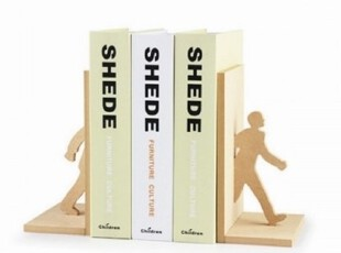 杂良集【sukoo】创意木制书挡 书立 书架 穿行书林创意环保书挡,文具,